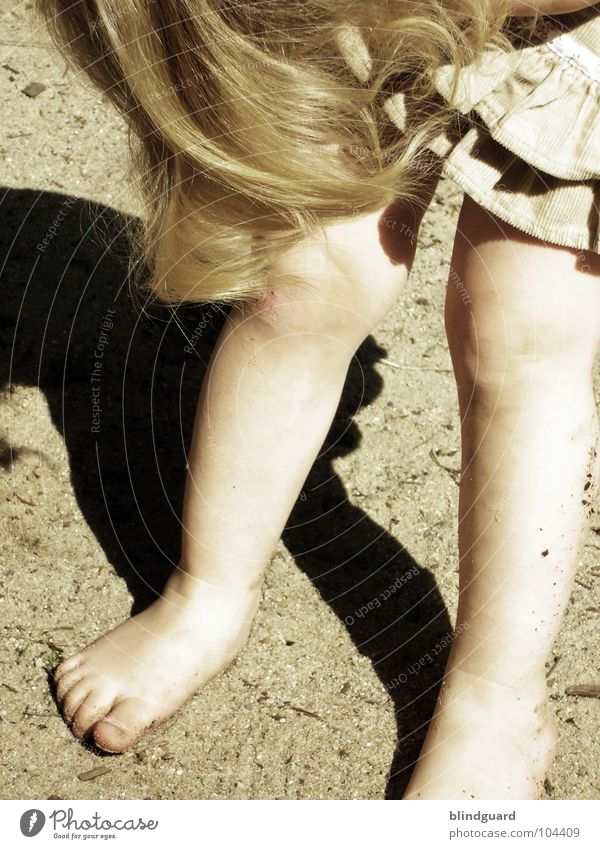 hmmm ... Child Dress Retro Small Toddler Girl Playground Playing Knee Toes Sweet Barefoot Sophie Hair and hairstyles Legs Feet Sepia Old Sand little leg looking