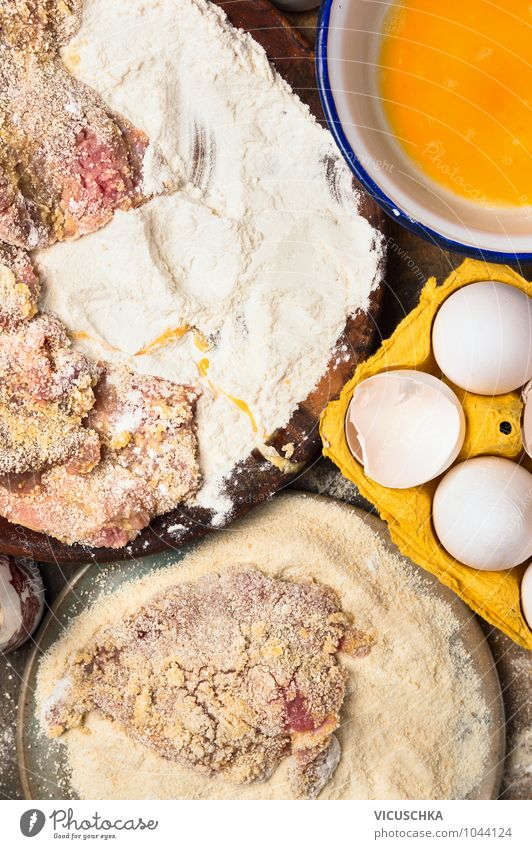Schnitzel Ingredients Food Meat Nutrition Banquet Organic produce Plate Bowl Style Design Healthy Eating Escalope Portion Steak Egg Flour Food photograph