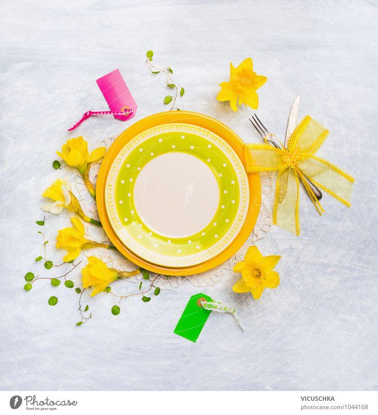 Plate with spring flowers decoration Banquet Crockery Cutlery Knives Fork Lifestyle Style Design Summer Interior design Decoration Kitchen Restaurant