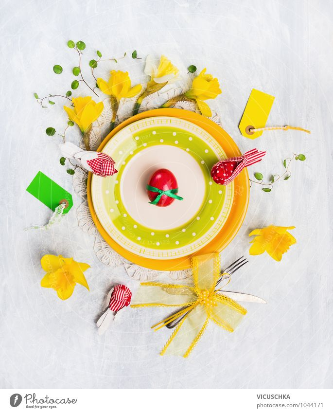 Yellow Easter plate with flowers and decoration Nutrition Banquet Crockery Plate Knives Fork Style Design Interior design Decoration Feasts & Celebrations