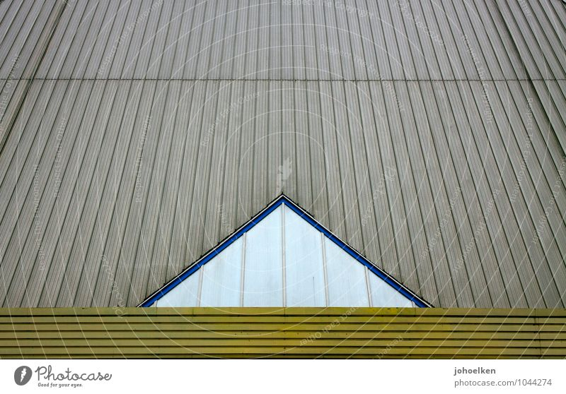 -^- Oberhausen The Ruhr Industrial plant Warehouse Facade Window Roof Olga Park Metal Sign Ornament Stripe Triangle Boredom Colour photo Exterior shot Detail