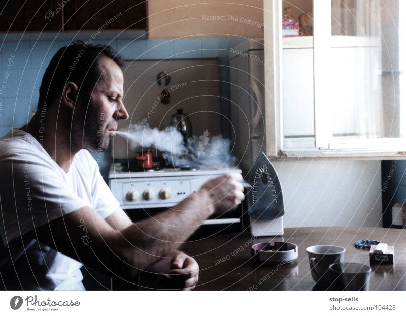 against resignation/smoking for Emotions Fate Still Life Resign Electric iron Cigarette Captured Cramped Kitchen Moslem Islam Distress Man Annoyance Edge Hope