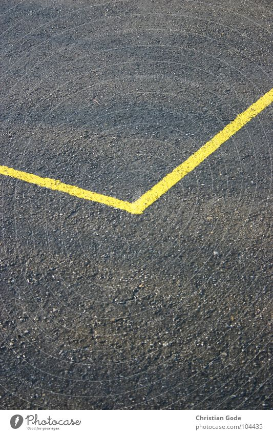 Yellow Gray Line Corner Asphalt Edge Section of image Sharp-edged Boundary Ground markings