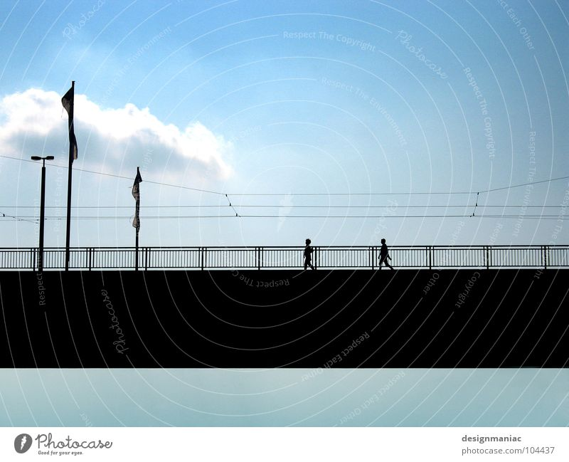 Human being Sky Blue Calm Black Clouds Above Lanes & trails Going Bridge Cable Clarity Lantern Connection Direction Handrail