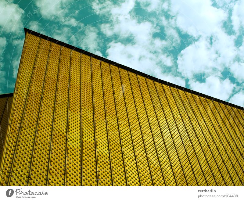 Philharmonic Orchestra 4 Berlin Philharmonic Culture Berlin culture forum Concert Wall (building) Facade Swing Entrance Shows Clouds Summer Architecture