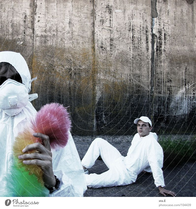[b/w] the team Fellow Posture White Working clothes Quarantine Laboratory Laboratory assistant Cleaning Cleaner Feather duster Multicoloured Mask Sunglasses