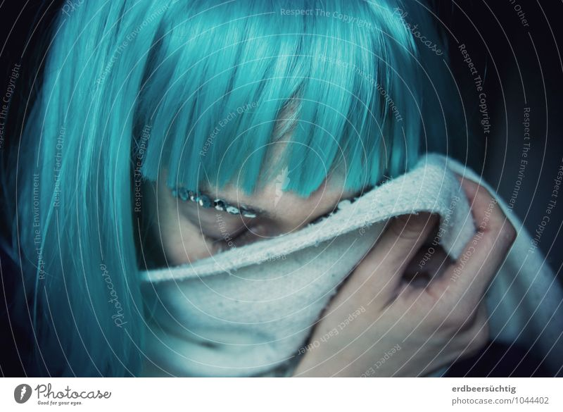 missing Beautiful Woman Adults Life Hair and hairstyles Hand Scarf Wig Bangs Freeze Dream Sadness Cry Uniqueness Cold Blue Turquoise Longing Loneliness