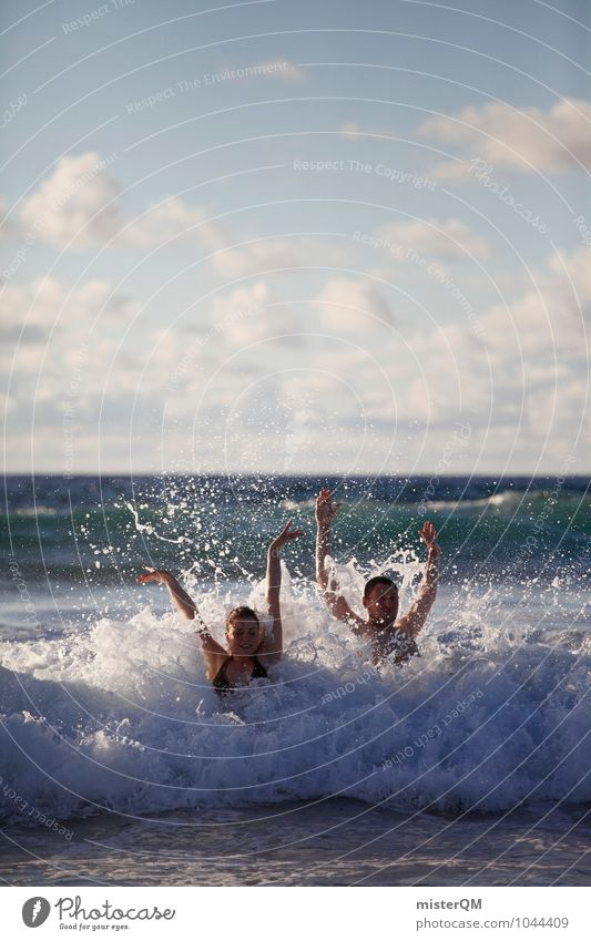 Vacation & Travel Youth (Young adults) Relaxation Ocean Joy Playing Freedom Swimming & Bathing Art Couple Together Waves Esthetic To enjoy Adventure