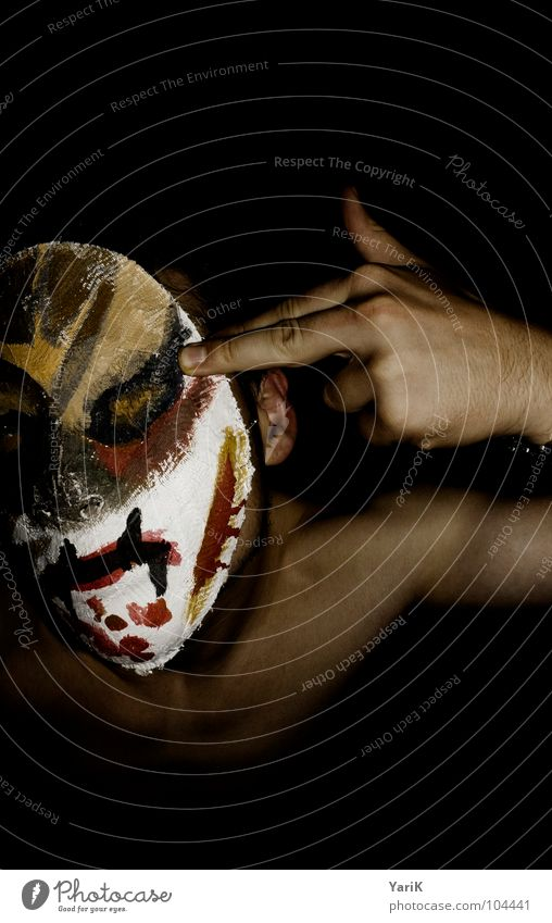 Man Hand Red Face Black Dark Head Brown Fear Arm Fingers Facade Protection Mask Carnival Anger