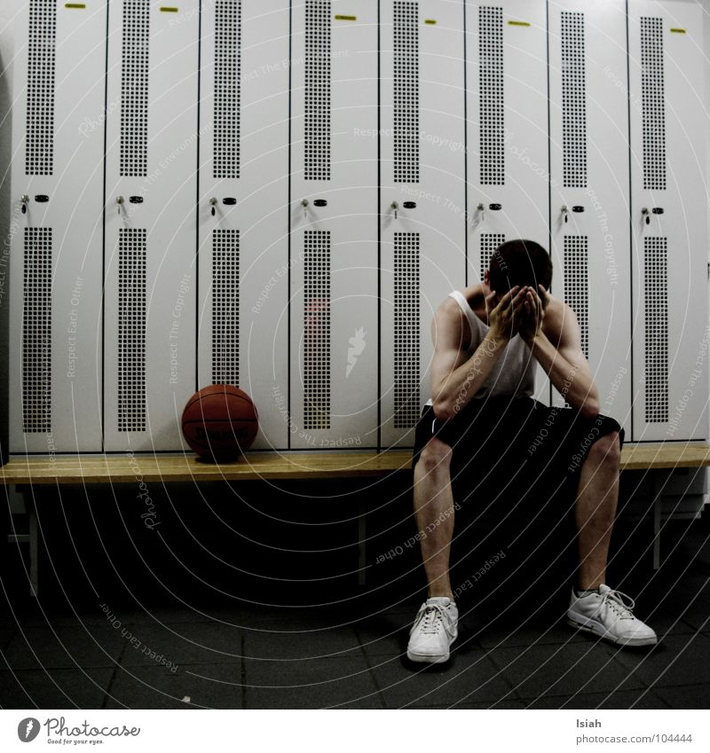 losers Loser Changing room Footwear Dark Grief Hand Broken White Cupboard Short haircut Distress second winner Basketball Sadness Bench Blue looser