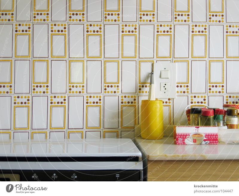 Yellow Cooking & Baking Kitchen Tea Herbs and spices Tile Household Mug Socket Photos of everyday life Rack Stove & Oven Gas stove