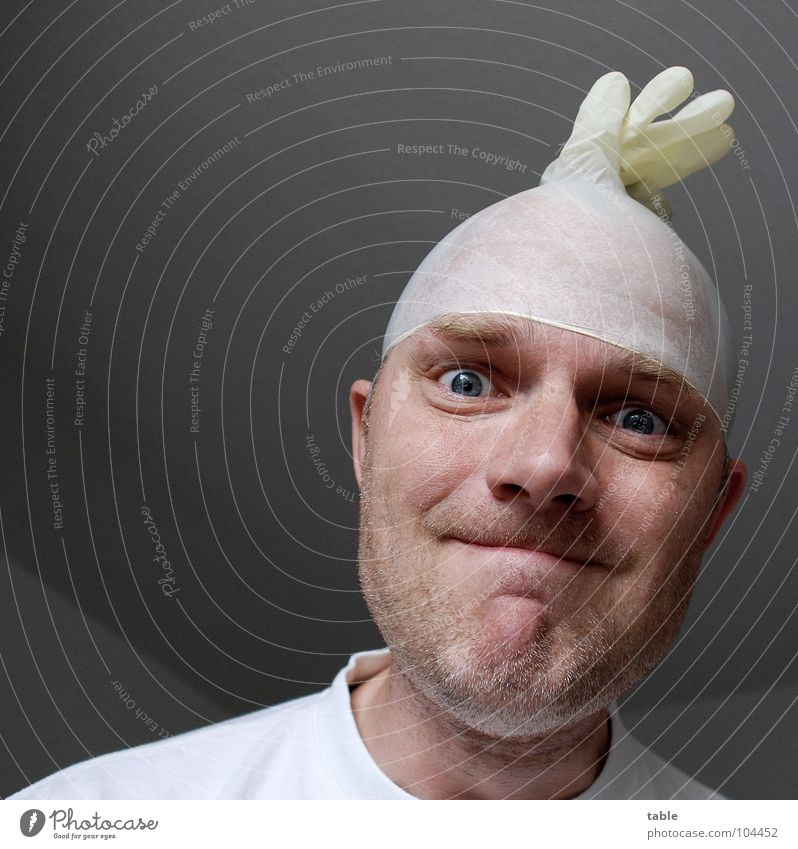/follow the white rabbit/ Psychiatry Unshaven T-shirt White Doctor Carer Patient Crazy Community service Man rubber glove Stubble Eyes Looking mad clinic