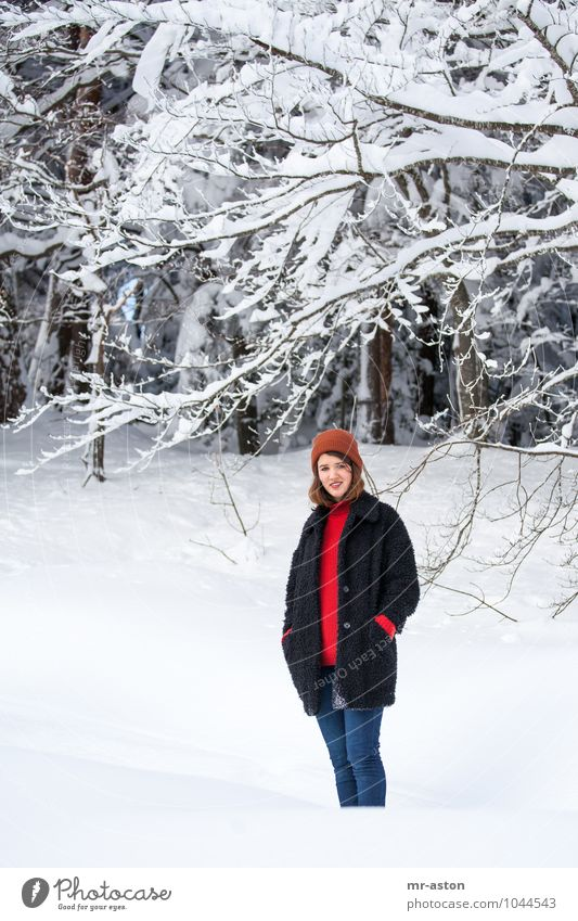 Gut gelaunt im Schnee Human being Woman Nature Youth (Young adults) Blue Beautiful White Tree Young woman Red 18 - 30 years Winter Forest Adults Life Snow