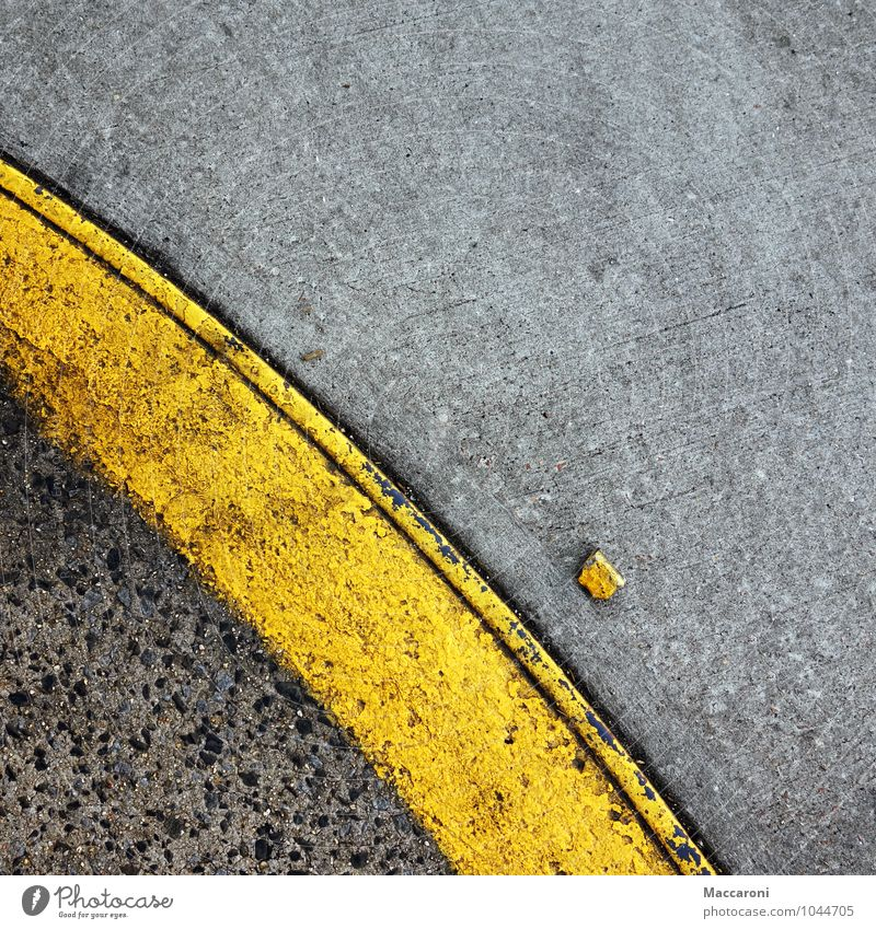 Where did you come from? Deserted Transport Traffic infrastructure Motoring Street Creativity Pavement Street art Roadside Parking Car Yellow Asphalt
