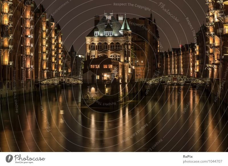Speicherstadt Hamburg Town Port City Downtown Old town Deserted House (Residential Structure) High-rise Industrial plant Harbour Bridge Manmade structures