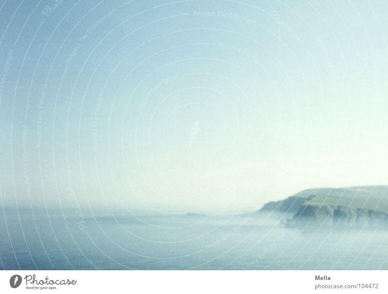 Water Sky Ocean Blue Beach Far-off places Coast Fog Rock Europe Deep Edge Cliff Steep Scotland Azure blue