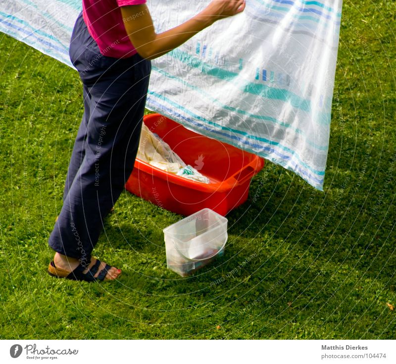 Woman Summer House (Residential Structure) Life Work and employment Meadow Garden Flat (apartment) Clothing Lawn Living or residing Pants Ecological Effort Laundry Hard