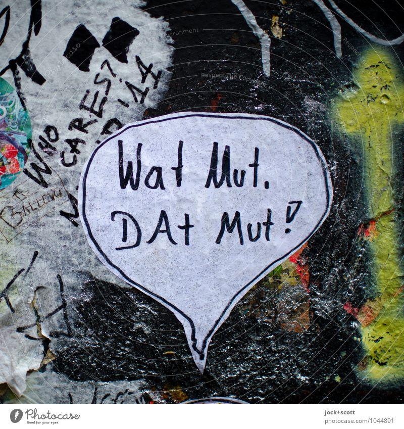 it starts again :-)) Joy Subculture Speech bubble Street art Wall (barrier) Wall (building) Graffiti Figure of speech Word To talk Dirty Firm Original Trashy