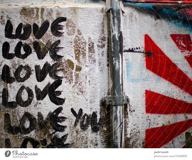 LOVE you Colour White Red Black Wall (building) Life Love Wall (barrier) Happy Arrangement Creativity Signage Transience Idea Stripe Cool (slang)