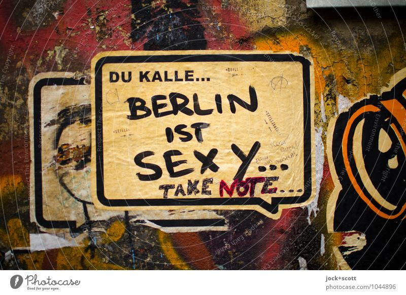 Bernd & Kalle: Berlin it's sexy Eroticism Wall (building) Graffiti To talk Style Wall (barrier) Dirty Contentment Communicate Paper Firm Hip & trendy Opinion