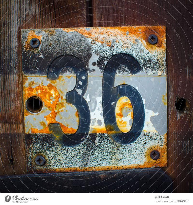 36 six times six Typography Varnish Wood Metal Rust Signs and labeling Square Old Retro Brown Decline Transience Change Weathered Threaded connection Embossing