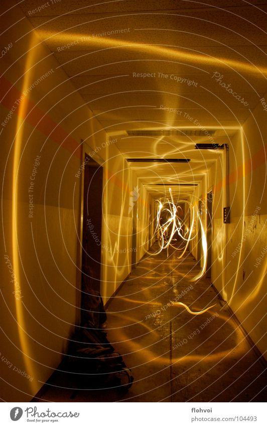light threads Light Stripe Yellow Dark Long exposure Exposure Night Derelict Dance Corridor