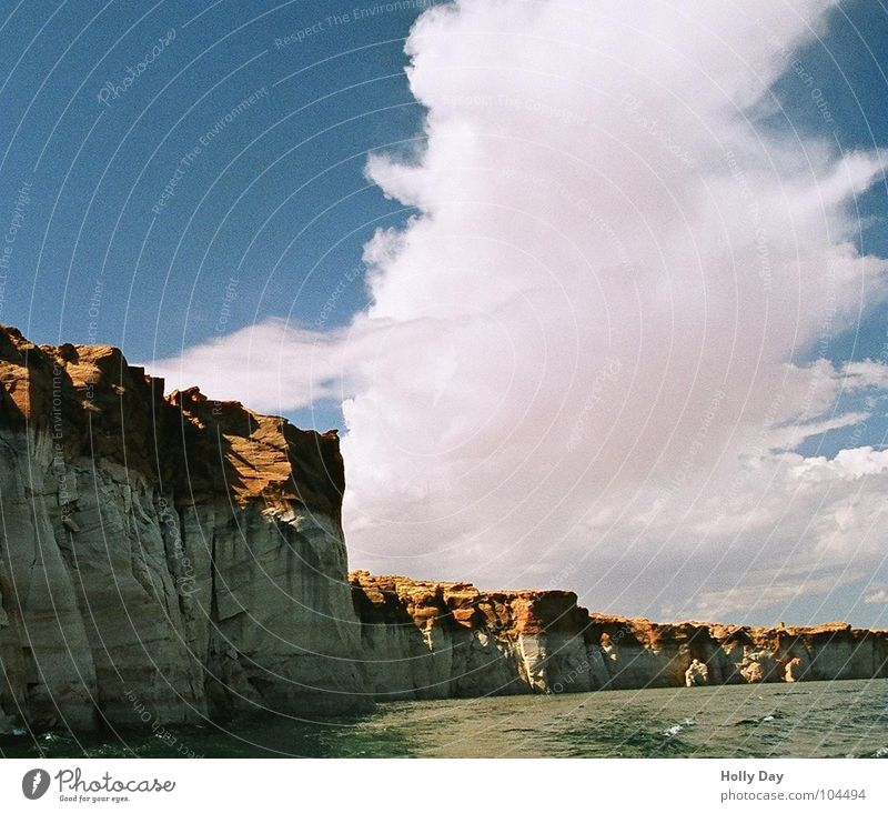 cloud tower Lake Powel Clouds White Absorbent cotton Utah Summer Canyon Sky Rainbow Bridge Blue Tower Rock Coast red rock USA Water