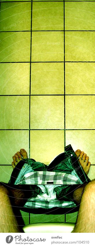 sitting Retro Pants Think Calm Yellow Urinate Time Thought Bowel movement Interior shot Underpants Concentrate Education Success Toilet mediation Feet Tile
