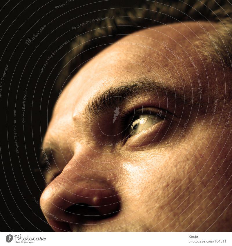 Man Black Eyes Yellow Nose Hope Future Thought Remember Vertauen