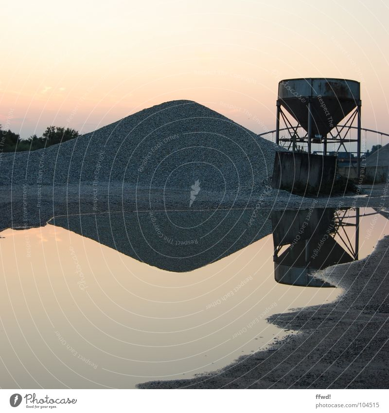 Water Lake Industry Gravel Puddle Symmetry Heap Gravel pit Gravel bed