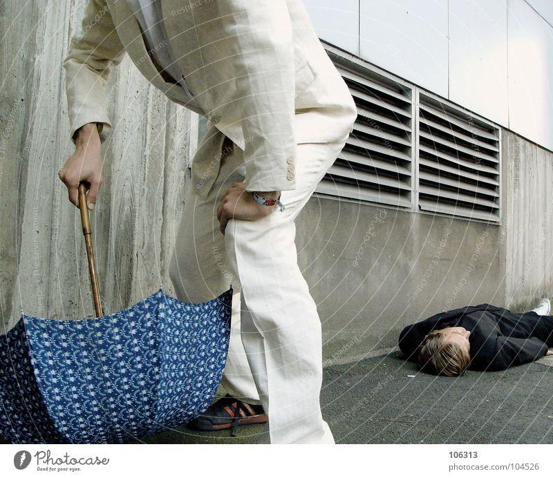 Man Black Lie Umbrella Suit Anonymous Partially visible Murder Headless Sacrifice Assassin Ambush Presentation Faceless Flee Unidentified