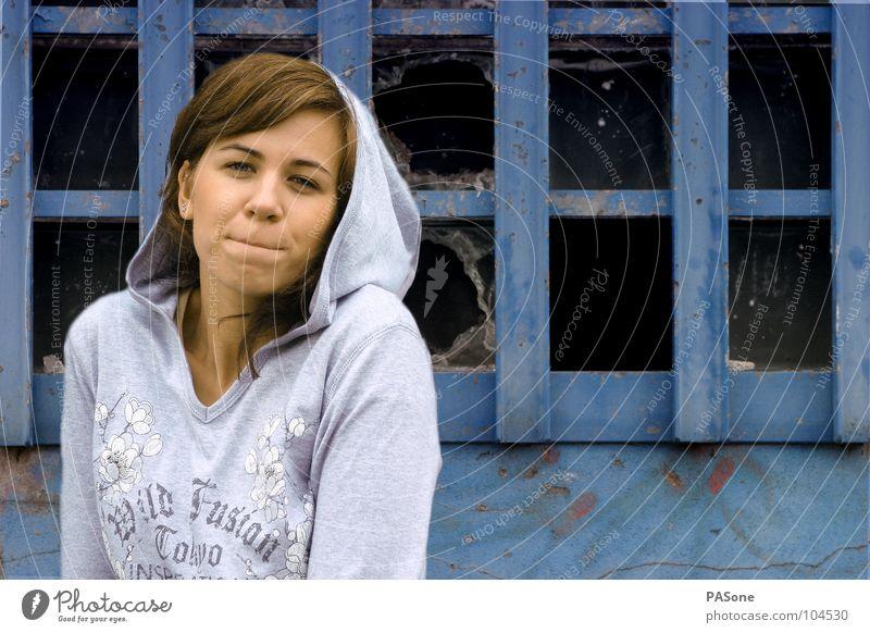 Woman Human being Blue Joy Colour Life Window Wall (building) Freedom Graffiti Fashion Lifestyle Clothing Trashy Sweater