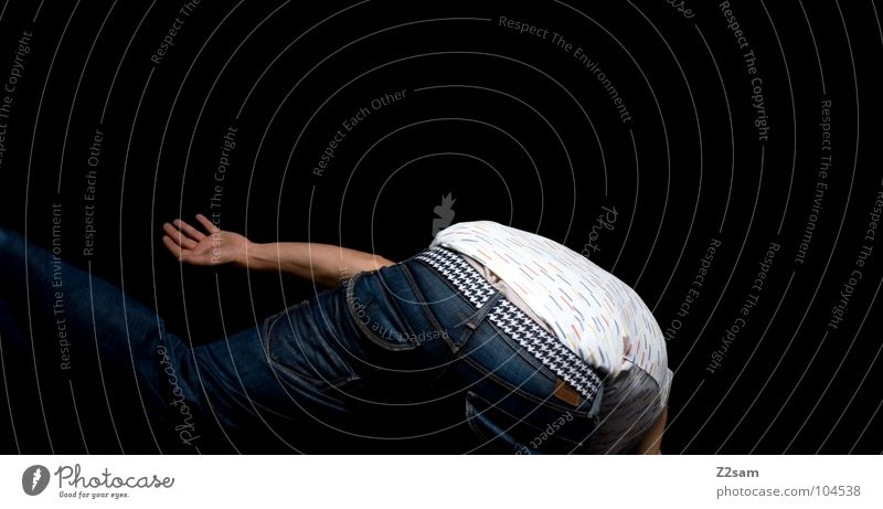 FALLING_DOWN To fall Harm Debauched Belt Hand Human being Man Masculine Youth (Young adults) Style Undershirt White falling Down Downward Jeans Arm Modern