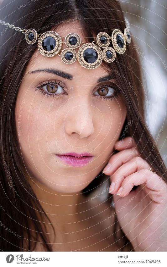 Decorated Feminine Young woman Youth (Young adults) Face 1 Human being 18 - 30 years Adults Beautiful Eroticism Jewellery Dark-haired Colour photo Exterior shot