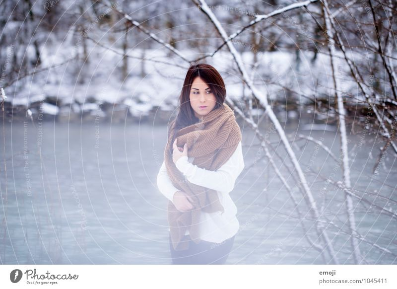 freezin' Feminine Young woman Youth (Young adults) 1 Human being 18 - 30 years Adults Environment Nature Winter Ice Frost Snow Beautiful Cold Blue Colour photo