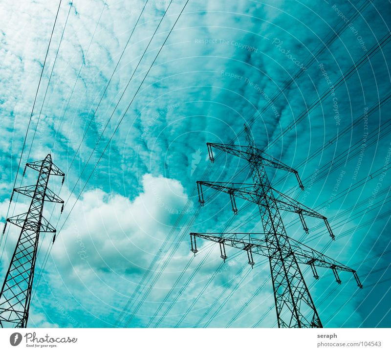 Sky Clouds Energy industry Electricity Technology Cable Manmade structures Traffic infrastructure Construction Electricity pylon Wire Transmission lines