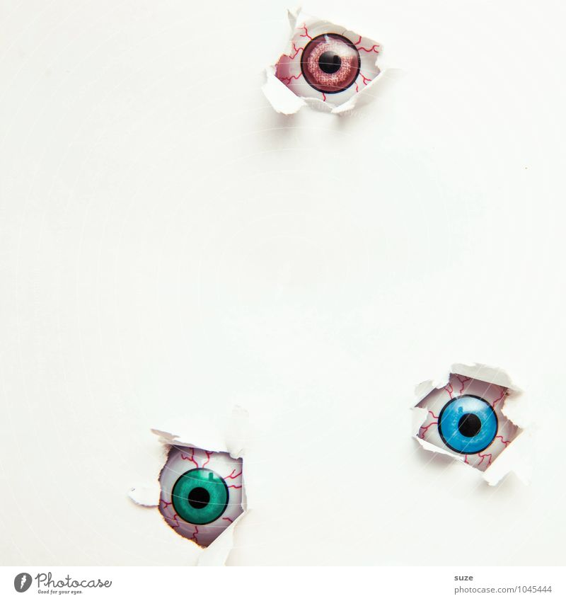 You are not alone Design Leisure and hobbies Handicraft Decoration Hallowe'en Eyes Paper Observe Cool (slang) Simple Creepy Bright Small Funny Naked Curiosity