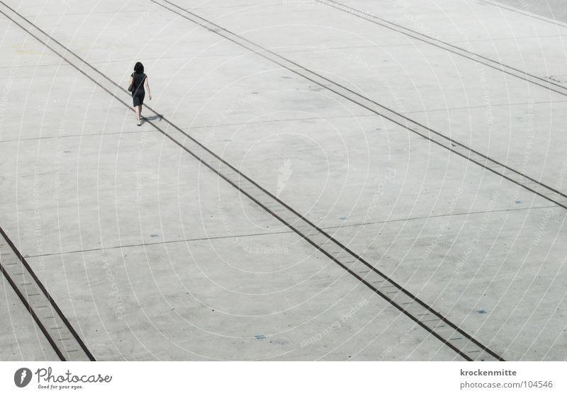 Woman Human being Loneliness Line Going Walking Places Dress Direction Traffic infrastructure Doomed Zurich Traverse Turbinenplatz