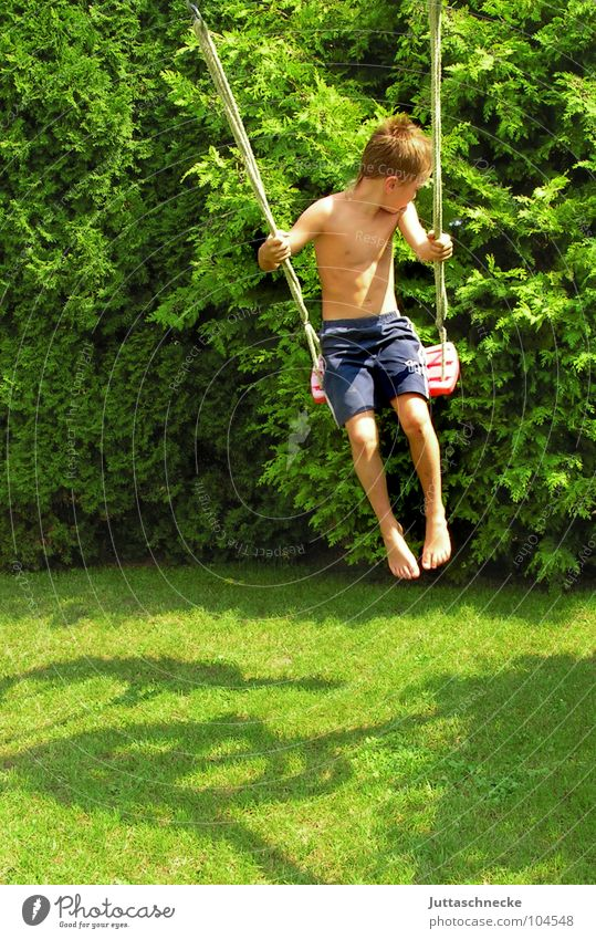 I'm flying Swing Child Boy (child) Playing Seesaw Joie de vivre (Vitality) Happiness Toys Joy Summer Young boys Flying Life Happy Freedom Garden Yes