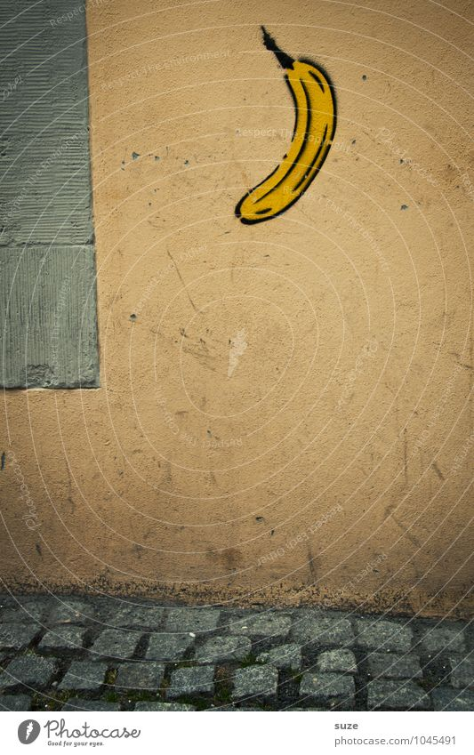 awesome Fruit Art Culture Wall (barrier) Wall (building) Sign Graffiti Dirty Small Funny Gloomy Dry Town Idea Creativity Banana Image Sidewalk Footpath Comic