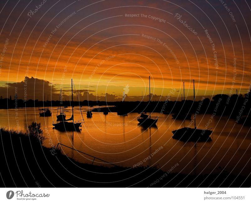 Sky Sun Summer Watercraft River Harbour Australia Dusk Water reflection
