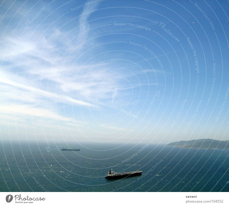 Strait of Gibraltar Calm Vacation & Travel Far-off places Freedom Summer Ocean Logistics Nature Water Sky Clouds Horizon Beautiful weather Wind Transport