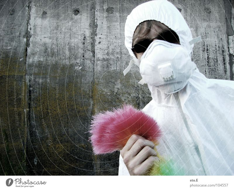 [b/w] wedelkämpfer #1 Fellow Posture White Working clothes Quarantine Laboratory Laboratory assistant Cleaning Cleaner Feather duster Multicoloured Mask