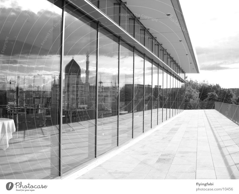 Yenize in window Dresden Window Modern architecture Style Mirror Reflection Architecture yenize Trade fair Black & white photo black