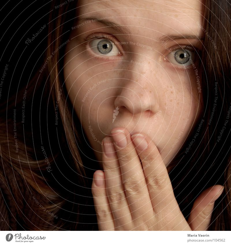 Woman Hand Girl Face Eyes Fear Nose Dangerous Panic Surprise Eyebrow Amazed Horror Frightening Shock Embarrassing