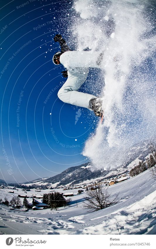 Blue White Black Sports Jump Tall Beautiful weather Cloudless sky Snowscape Winter sports Trick Ski run Snowboarding Winter mood Snowboarder Deep snow