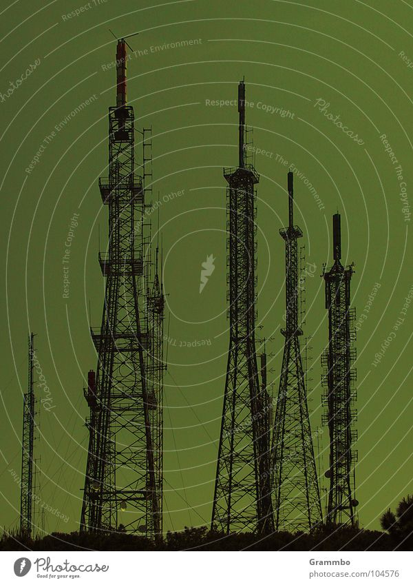 Green Dark Gloomy Television Electricity pylon Radio (broadcasting) Antenna Surveillance Broacaster Interior Minister