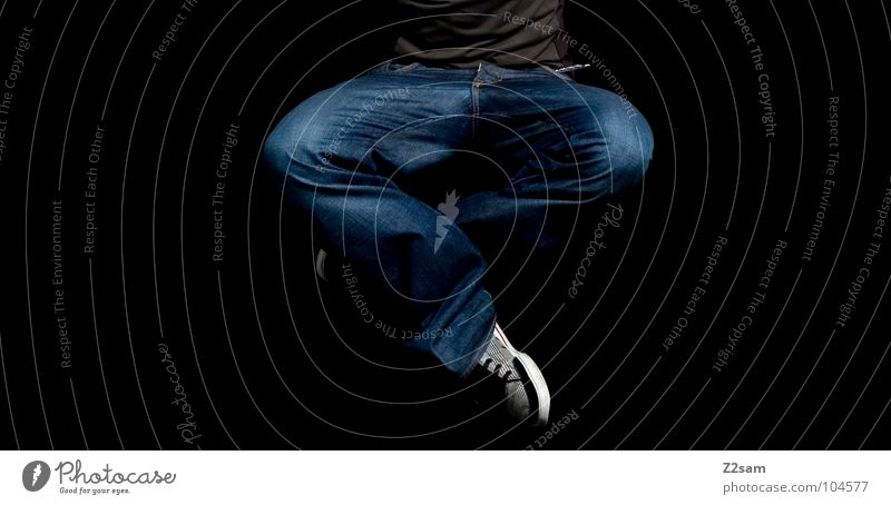 Human being Man Calm Movement Jump Style Air Line Healthy Contentment Flying Modern Cool (slang) Jeans Meditation Hover