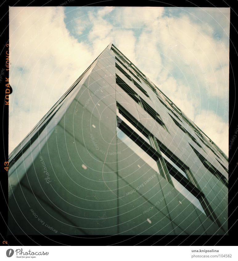 skyscrapers House (Residential Structure) Sky Clouds High-rise Architecture Facade Window Mask Line Sharp-edged Large Tall Analog Medium format Square Aspire