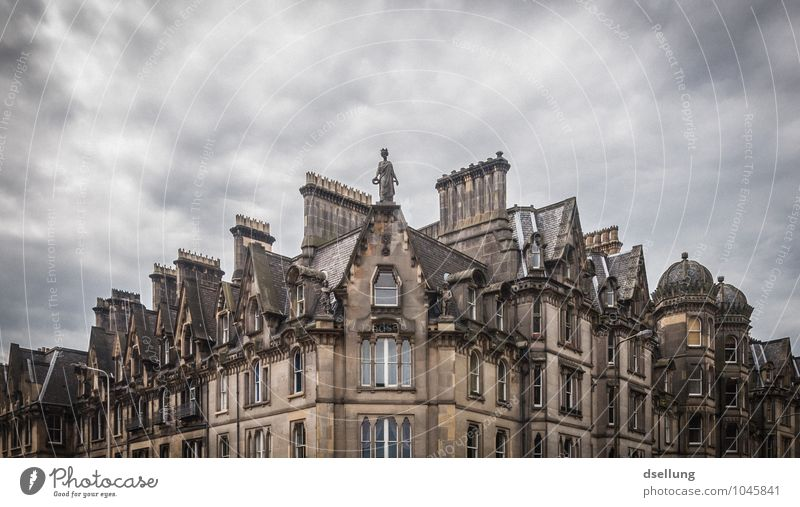 Battery. Edinburgh Scotland Capital city Downtown House (Residential Structure) Building Roof Chimney Old Dark Sharp-edged Historic Cold Gloomy Town Gray
